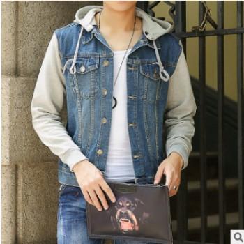 2018卫衣袖牛仔外套韩版假两件连帽牛仔夹克一件代发 厂家直销