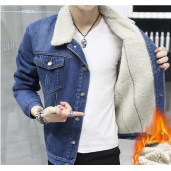 2019白色羊羔绒牛仔夹克外套男士上衣韩版修身M--3XL,一件代