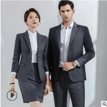 职业装女套装2019秋男女同款商务韩版西服面试销售正装4S店工作服
