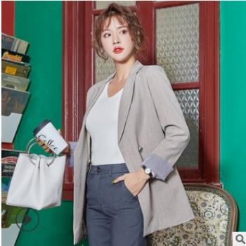西装套装女2019新款高档时尚秋装长袖韩版西服纯色外套宽松工作服