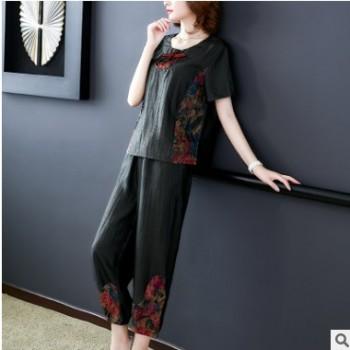 中老年妈妈装两件套女香云纱真丝套装民族风中式短袖上衣七分裤女