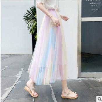 外贸高端精品2019夏季彩虹炫彩网纱裙百搭高腰仙女半身裙修身显瘦