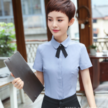职业装纯白短袖女衬衫2018秋冬新款ol工作服办公室白领女工装制服
