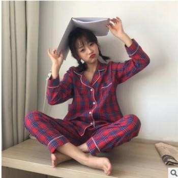 一件代发新款韩国秋冬新品 甜美少女长袖格子睡衣家居服套装学生