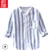 时尚男装夏季亚麻休闲条纹衬衫男立领青春流行男式七分袖衬衣780