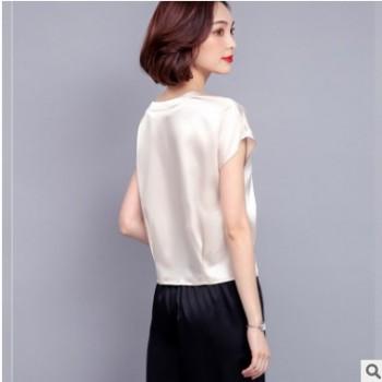 2019新款女装短袖T恤大码显瘦时尚韩版百搭重磅仿真丝衬衫女
