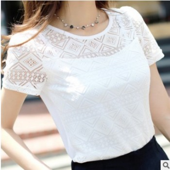 夏新款韩版修身纯色镂空蕾丝打底衫女显瘦圆领短袖大码女装上衣潮