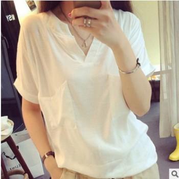夏季新款韩版宽送口袋斜V领短袖T恤女纯色文艺亚麻上衣大码女装