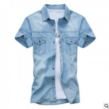 2016夏季新款男装短袖牛仔衬衫青少年韩版修身棉衬衣一件代发