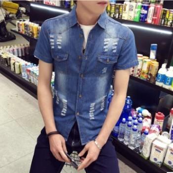 2016夏季外贸爆款男士短袖牛仔衬衣时尚破洞修身薄款衬衫上衣批发