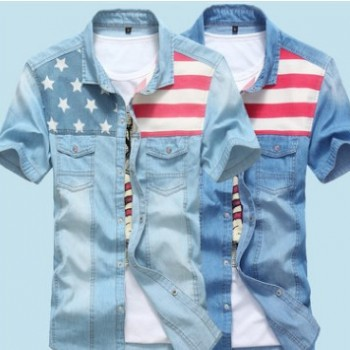 2016夏季新款男士短袖牛仔衬衣 休闲拼接星条旗男装衬衫 一件代发