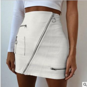欧美爆款2019wish热卖新款夏季女装皮革半身裙拉链女短裙一件代发