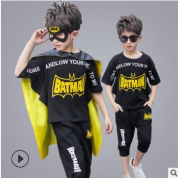 2019新款童装男童套装夏季儿童角色扮演套装蝙蝠侠运动一件代fa潮
