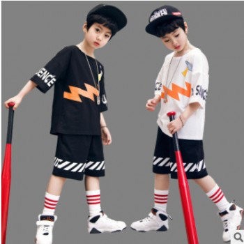2019新款男童夏装套装中大儿童运动短袖短裤两件套男孩街舞服批发