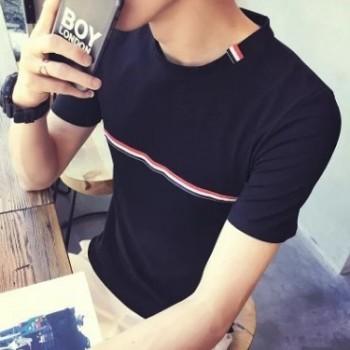 批发2019夏装新款韩版男生修身短袖T恤 一件代发男士胸前条纹汗衫