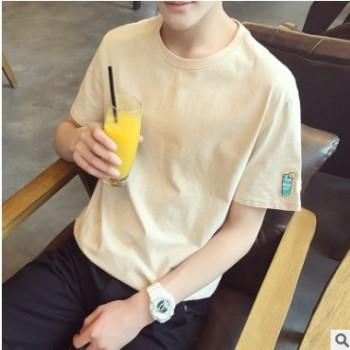 夏季新款刺绣宽松男式短袖T恤男士圆领纯色青少年学生潮流男装te