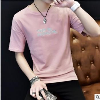 夏季韩版日系男式T恤男短袖圆领修身体恤半袖男士男装打底衫潮流