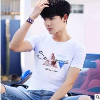 2019 夏季新款男短袖T恤韩版修身半袖宽松大码体恤学生潮流打底衫
