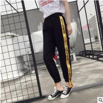 运动裤女夏学生韩版宽松 原宿bf九分裤ins超火时尚金边束脚休闲裤