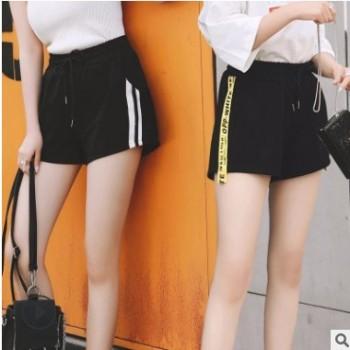 韩版三分双杆运动短裤女阔腿宽松薄款休闲热裤学生跑步居家睡裤子