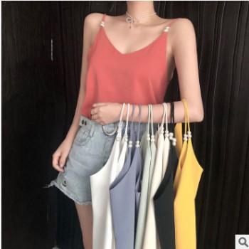 韩版百搭气质珍珠雪纺打底衫上衣女装2019夏季新款V领吊带背心潮