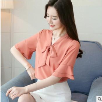 实拍 新款2018夏装女韩版v领短袖雪纺衫喇叭袖上衣百搭打底衫
