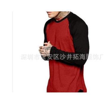 2018速卖通亚马逊新款爆款拼色长袖T恤