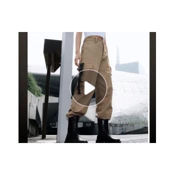 黑格尔2018秋新款外贸ins网红女装欧美飘带休闲裤女哈伦裤工装裤