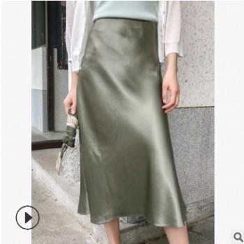 云衫2019新款三醋酸缎面半身裙中长款光泽感丝滑一步裙显瘦包臀裙