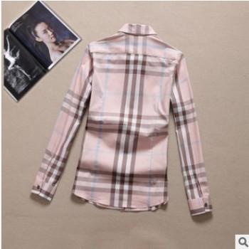经典女式衬衫淡粉色时尚休闲纯棉水洗女衬衣品牌大格子衬衫百搭