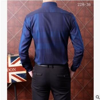 秋新款蓝色长袖衬衫男品牌专柜高质量原 单衬衣时尚商务百搭长衬