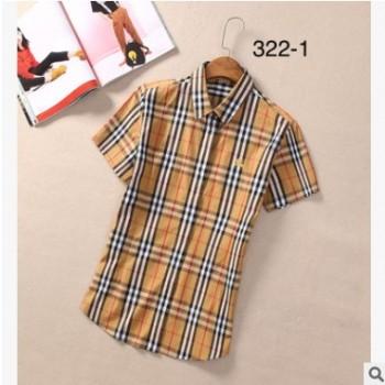 网红款彩虹条女式小格子衬衫青春时尚潮流女格子衬衣休闲纯棉衫