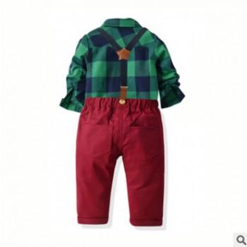 2019款跨境童装春秋领结衬衫背带长裤套装礼服套装绅士男童四件套