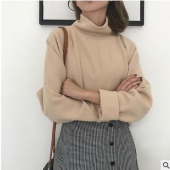 春夏新款韩版chic高领加厚长袖针织衫百搭宽松套头学生打底衫毛衣