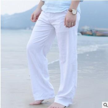 1999 休闲亚麻长裤 宽松大码沙滩裤棉麻裤子松紧腰(1068)