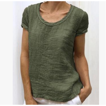 ebay 独立站 速卖通爆款棉麻大码宽松圆领短袖T恤上衣 现货