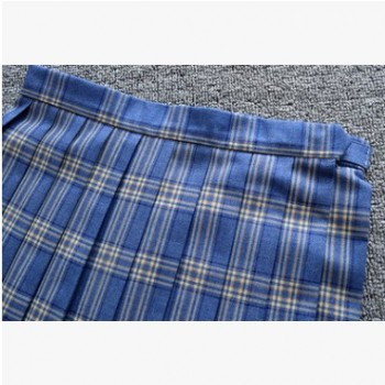 日本学院高腰牛蓝黄白格JK制服百褶裙春夏秋半身裙有口袋定位线