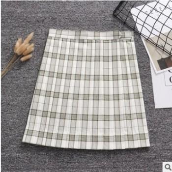 日本学院高腰竹绿间白格JK制服百褶裙春秋半身裙有口袋定位线