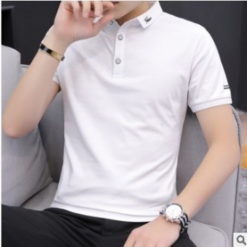 男士短袖t恤夏季翻领上衣服青年体恤T夏天男装有领带领polo衫潮