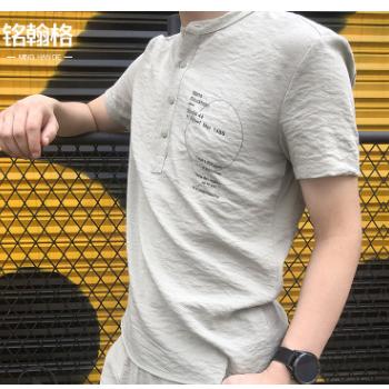 夏季亚麻套装短袖两粒扣T恤男装九分裤舒适透气棉麻休闲男士青年