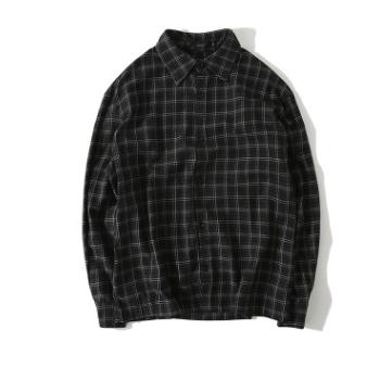 宽松衬衫男加工衬衫男定制格子衬衫订做长袖男式衬衣印logo刺绣