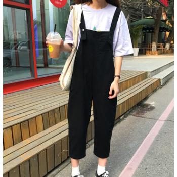 B0626韩版帅气宽松连体九分裤学生牛仔背带裤