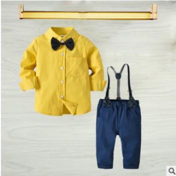 跨境男童纯棉长袖衬衫弹力长裤套装 儿童绅士四件套 宝宝生日礼服