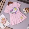 2019童装儿童纯棉短袖宝宝夏季衣服女童上衣t恤短裙两件套装代发