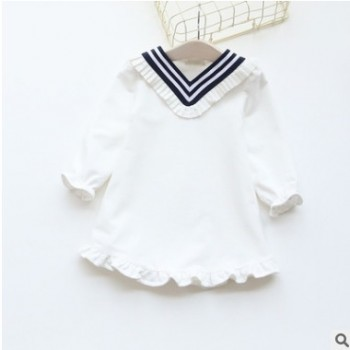 秋装儿童韩版V领海军风花边连衣裙长袖淑女童装娃娃裙子0210