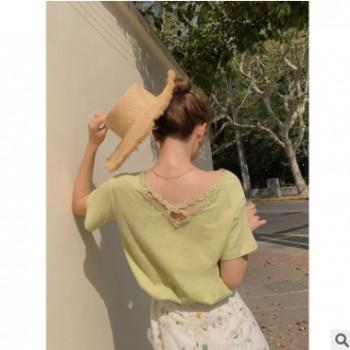 短袖V领T恤女2019夏新款韩版宽松蕾丝拼接纯色后背交叉上衣A6950