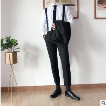 夏季薄款男式休闲裤韩版修身九分裤男青年宽松直筒学生潮流小西裤