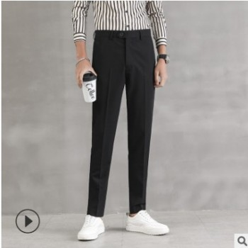 春夏新款时尚男装韩版商务修身小脚免烫西裤男青年休闲薄款九分裤
