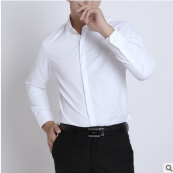 暗门襟男式长袖衬衫男士青年商务白衬衫男冬季西装打底衬衣