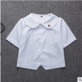 现货 日本学生制服 丸襟梅花刺绣 夏季短袖衬衫 JK制服短款衬衫